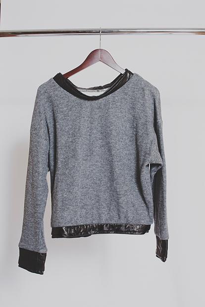 Leather cuffed sweater by SGC N-Y-C. Photo by SGC N-Y-C, too.