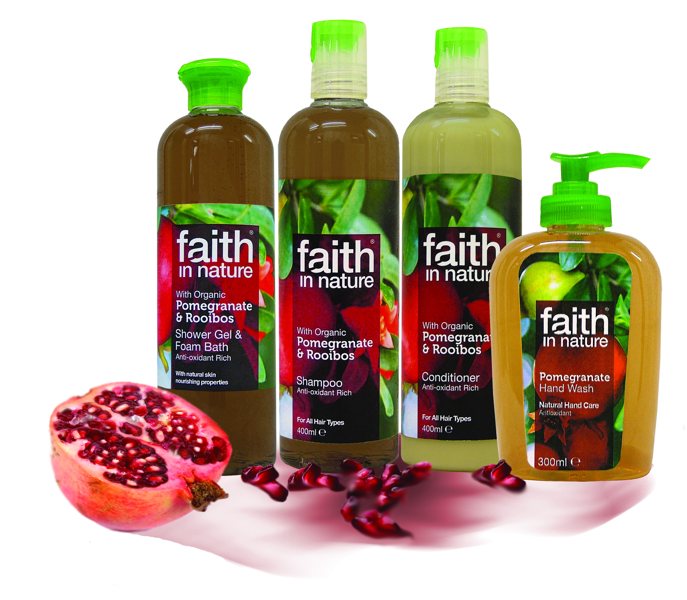 Pomegranate and Rooibos Shampoo and Conditioner £5.35 each, Shower Gel and Bath Foam £5.45.