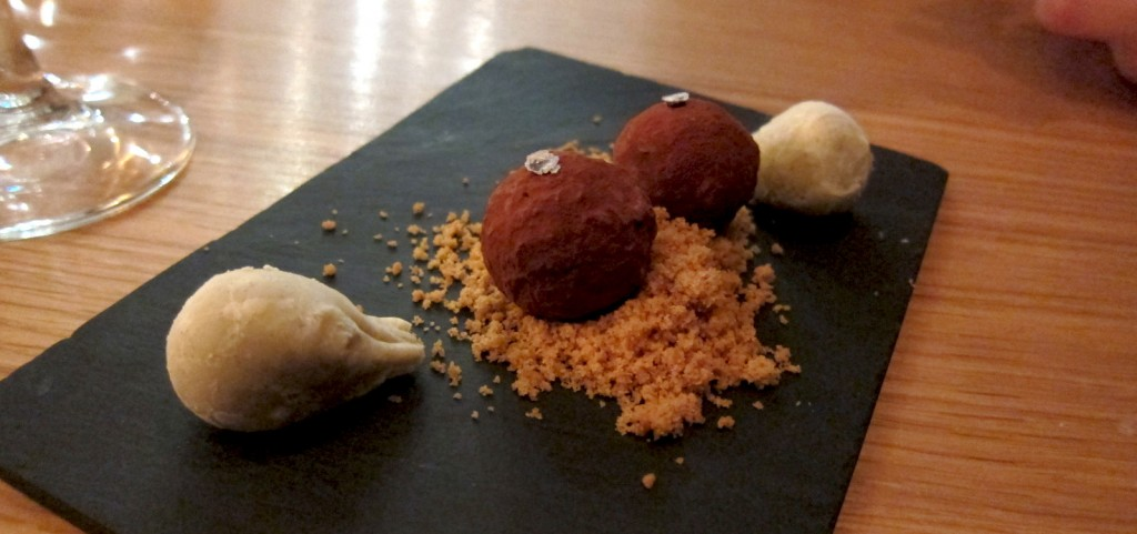 Petit four of chocolate and porcini mushroom
