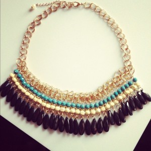 layered beads-tassel collar necklace