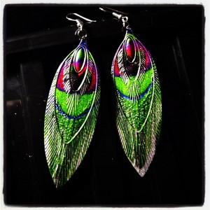 multi-metal feather earrings