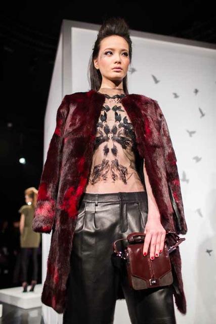 Monika Chiang, bird imprint, lace break, draped trousers, faux fur coat