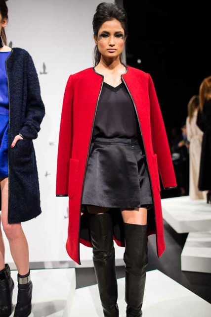 monika chiange thigh high boots, red coat, leather trim