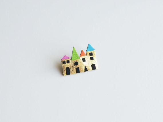 houses brooch