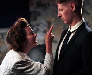 Georgina Strawson as Thatcher and Freddie Capper in ThatcherWrite at Theatre503