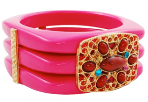 NeonPinkBead&CrystalPanelSquareStackBangle