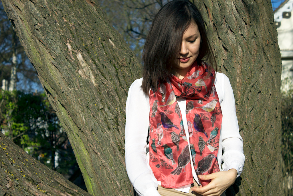 red bird scarf long sparrows