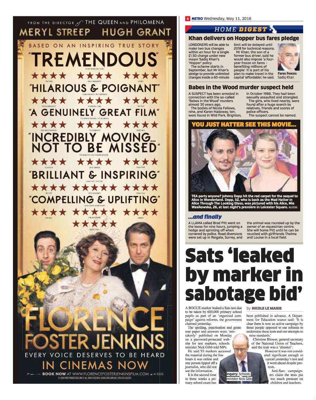 Metro - 11 May - Florence Foster Jenkins rating