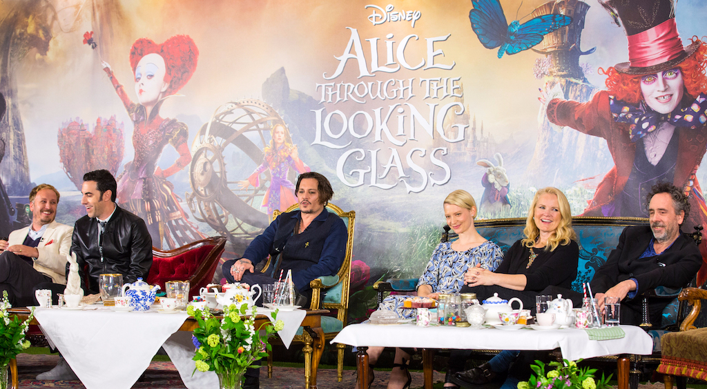 """London UK : The stars of Disney's """"Alice Through The Looking Glass"""" including Jonny Depp, Mia Wasikowska and Sacha Baren Cohen along with producers Tim Burton and Suzanne Todd and director James Bobin at the press conference in London on Sunday, May 8. (Credit : James Gillham / StingMedia for Disney)"""