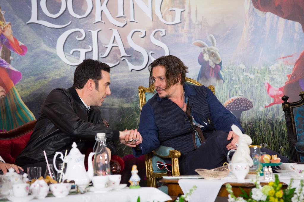 """London UK : The stars of Disney's """"Alice Through The Looking Glass""""  Jonny Depp and Sacha Baren Cohen at the press conference in London on Sunday, May 8. (Credit : James Gillham / StingMedia for Disney)"""