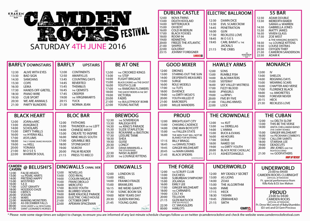 camden rock 2016 times
