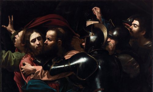 Religious scene, the arrest of Christ in the events of Holy Week.  Jesus  Christ being embraced by a disciple, and three soldiers waiting to take him away. A man in the background gesturing in despair.
