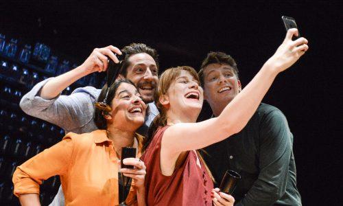 Natalie Dew (Rachel), Ben Addis (Ben), Nicola Kavanagh (Melanie), Karl Davies (Sam). Deposit at Hampstead Theatre. Photo by Robert Day.